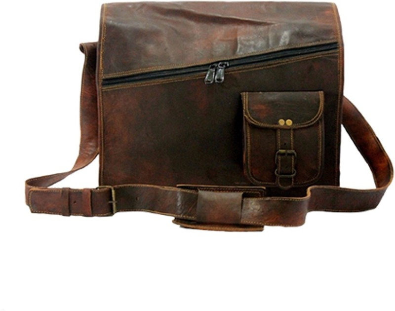 The Leather Bags House SELB8 Large Briefcase - For Men & Women(Brown)