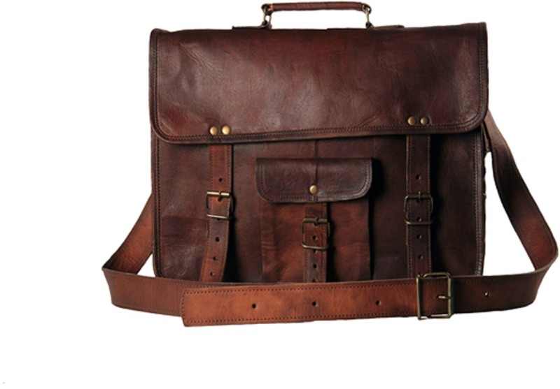 The Leather Bags House SELB6 Medium Briefcase - For Men & Women(Brown)