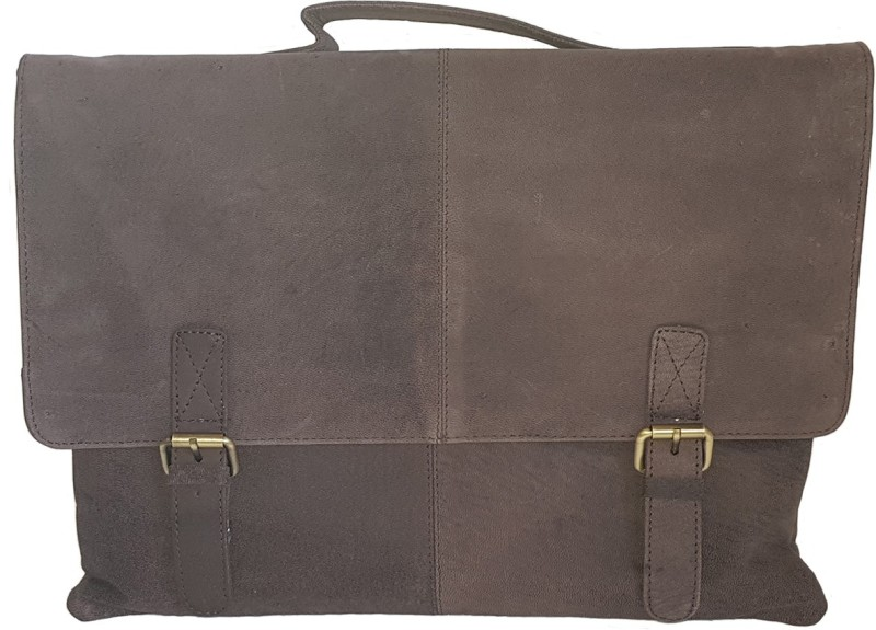 The Leather Bags House SELB7 Medium Briefcase - For Men & Women(Grey)