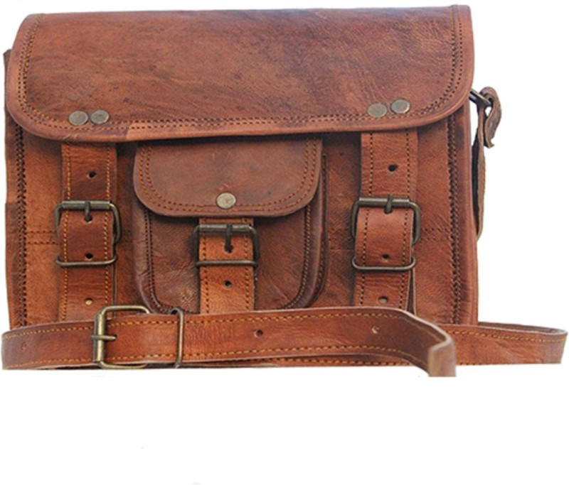 The Leather Bags House SELB20 Small Briefcase - For Men & Women(Brown)