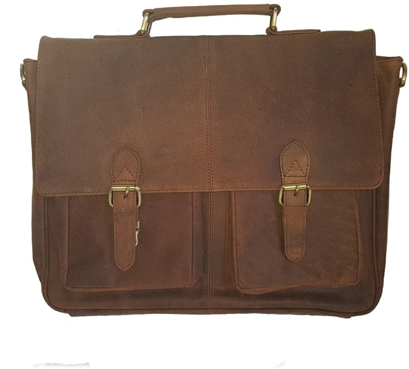 The Leather Bags House SELB12 Large Briefcase - For Boys & Girls(Brown)