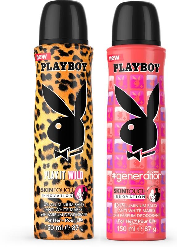 Playboy Wild W + Gen W Deodorant Spray - For Women(300 ml, Pack of 2)