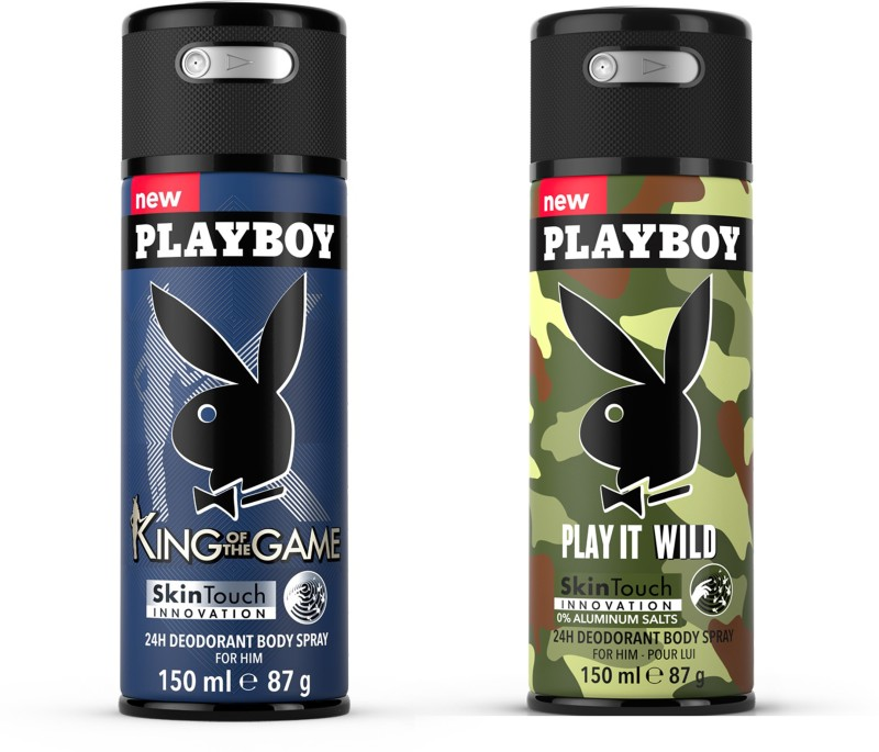 Playboy King + Wild M Deodorant Spray - For Men(300 ml, Pack of 2)