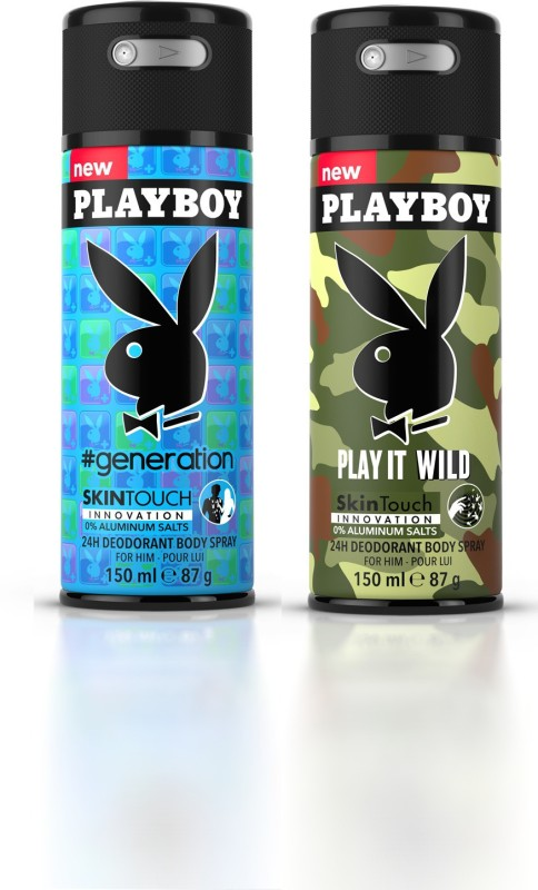 Playboy Gen M + Wild M Deodorant Spray - For Men(300 ml, Pack of 2)