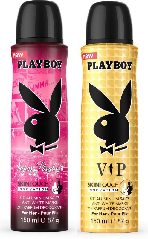 Playboy Super W + Vip W Deodorant Spray - For Women(300 ml, Pack of 2)