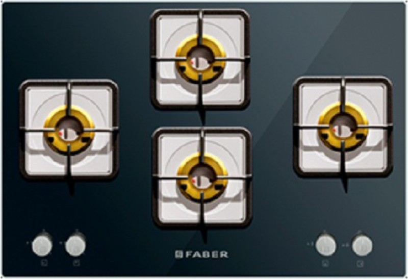 FABER HCT 754 CRS LBR EI Glass, Stainless Steel Automatic Gas Stove(4 Burners)