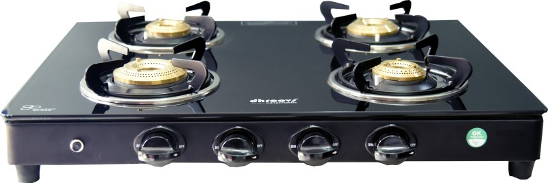 dhroovs CT 4BG EXCEL AUTO Glass, Steel Automatic Gas Stove(4 Burners)
