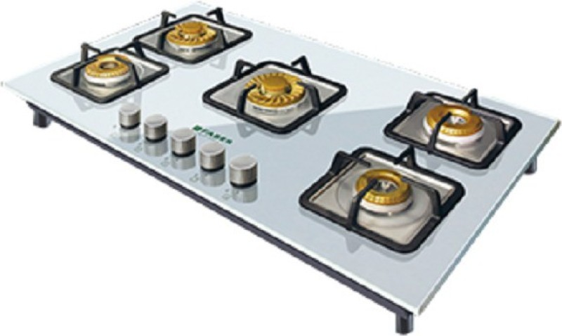 FABER HGG 905 CRS BR CI WH HT Glass, Stainless Steel Automatic Gas Stove(5 Burners)
