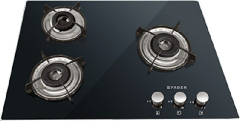 FABER 3 burner Hobtop HCT 653 CRR LBK EI Glass, Stainless Steel Manual Gas Stove(3 Burners)