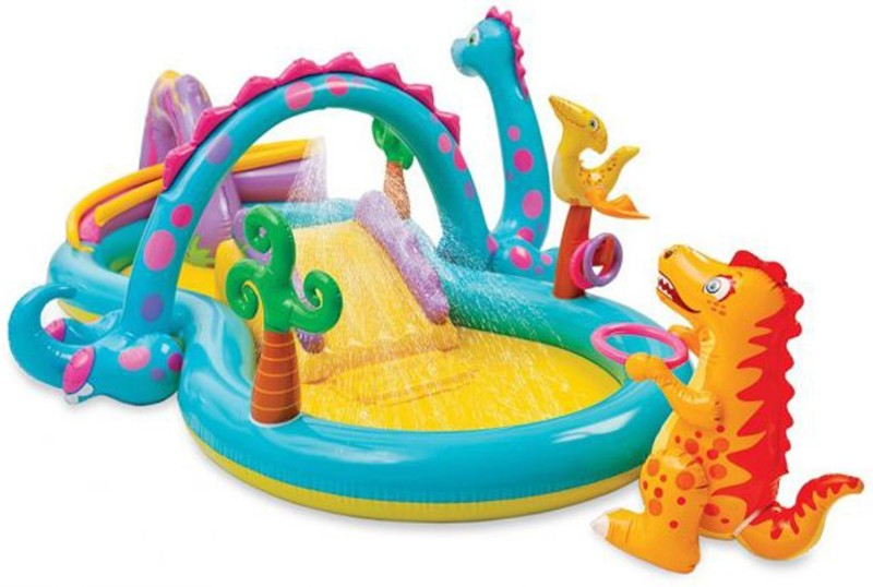 Intex ® Original Inflatable Dinoland Play Center Swimming Pool With inbuilt Water Spray,6 balls and 3 rings & Inflatable dragon Inflatable Pool, Play Gym, Pool Accessory(Multicolor)