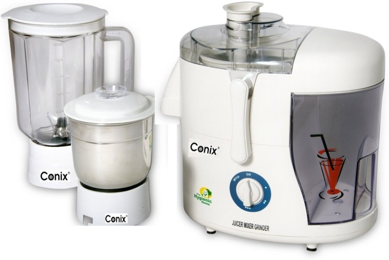 conix Deo 2 Star poly 550 Juicer Mixer Grinder(White, 2 Jars)
