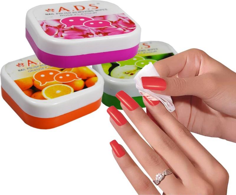 ADS Rose, Green Apple & Orange Nail Polish Removing Wipes(32 g)