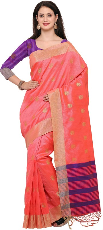 Style U Woven Banarasi Jute, Jacquard Saree(Pink)
