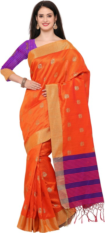 Style U Woven Banarasi Jute, Jacquard Saree(Orange)