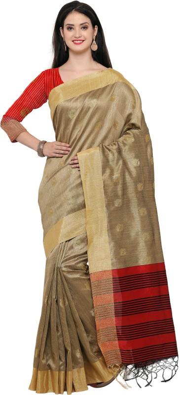 Style U Woven Banarasi Jute, Jacquard Saree(Beige)