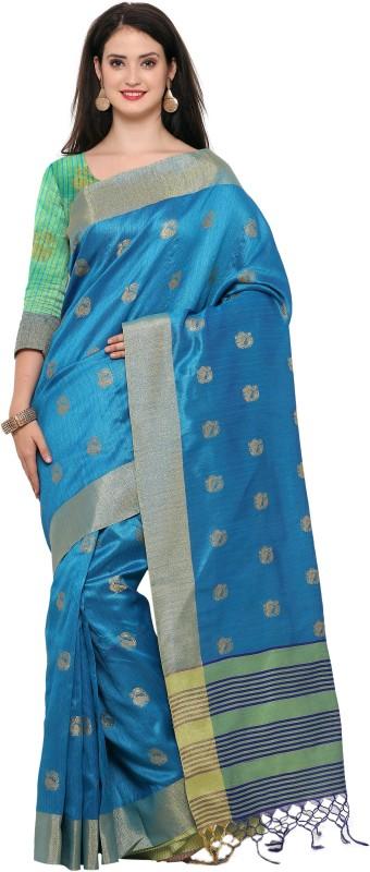 Style U Woven Banarasi Jute, Jacquard Saree(Light Blue)