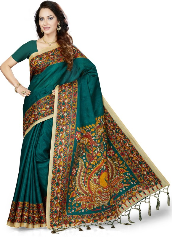 Ishin Printed Bollywood Art Silk Saree(Green)
