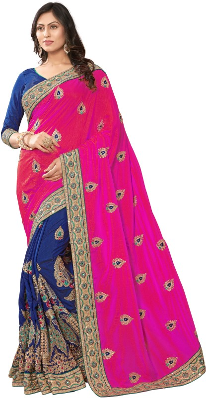Pragati Fashion Hub Embroidered Fashion Dupion Silk Saree(Pink, Blue)