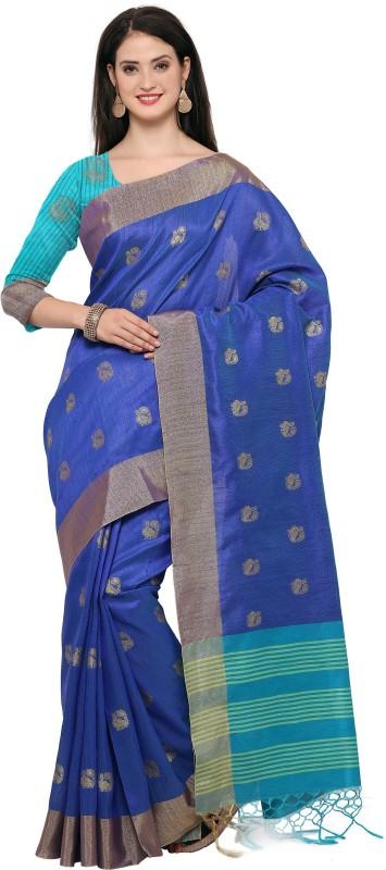 Style U Woven Banarasi Jute, Jacquard Saree(Blue)