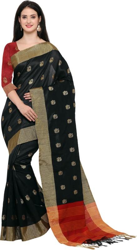 Style U Woven Banarasi Jute, Jacquard Saree(Black)