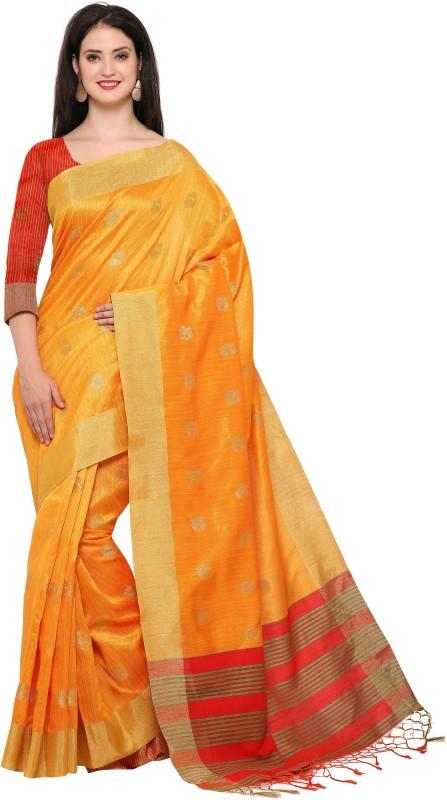Style U Woven Banarasi Jute, Jacquard Saree(Yellow)