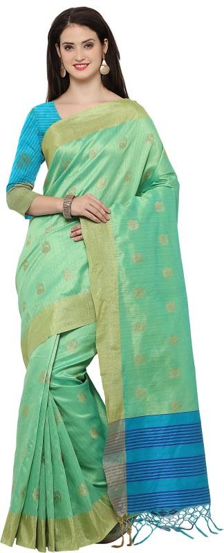 Style U Woven Banarasi Jute, Jacquard Saree(Green)