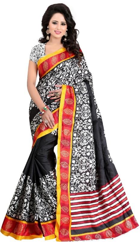 yashika Printed Daily Wear Art Silk Saree(Black)