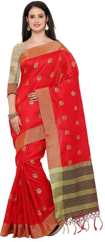 Style U Woven Banarasi Jute, Jacquard Saree(Red)