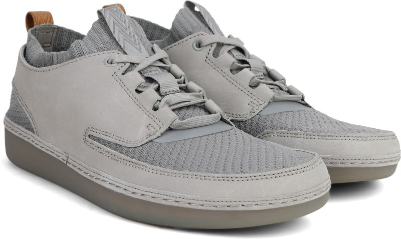 Clarks Nature IV Grey Combi Sneakers For Men(Grey)
