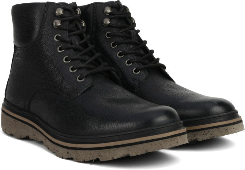Clarks Frelan Top Black WLined Lea Boots For Men(Black)
