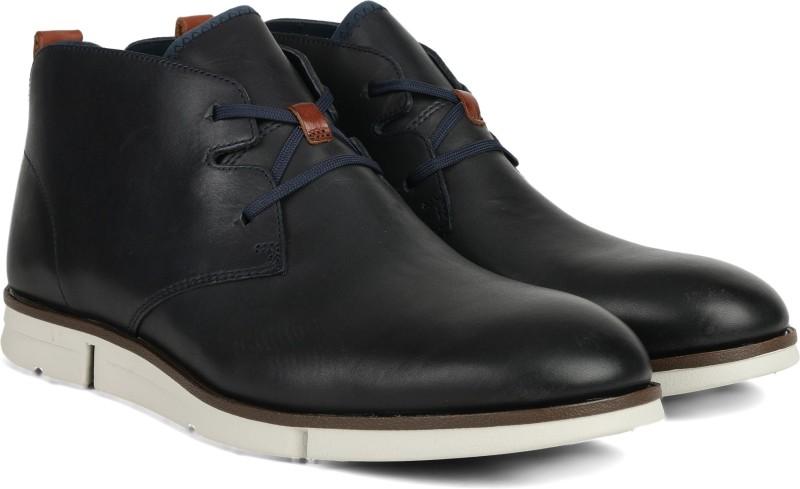 Clarks Trigen Mid Navy Leather Boots For Men(Blue)