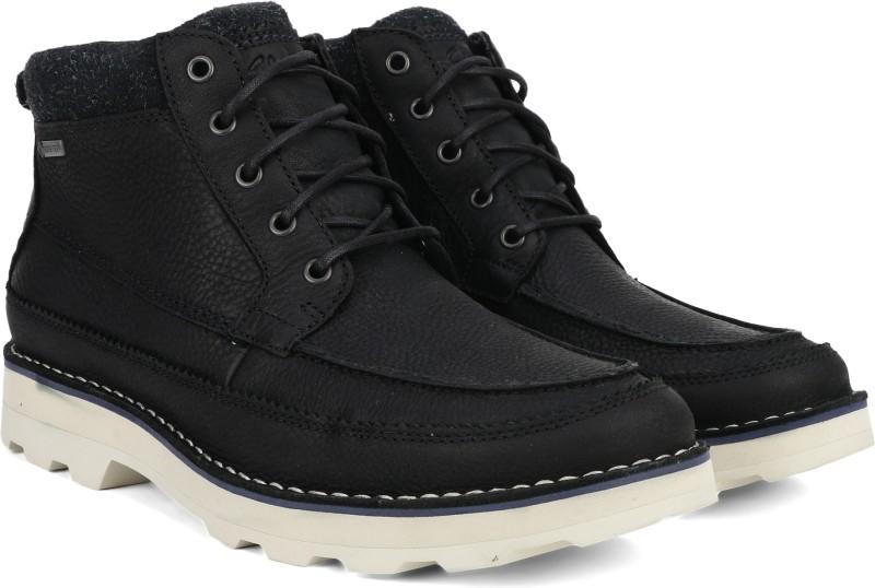 Clarks Korik Rise GTX Black Leather Boots For Men(Black)