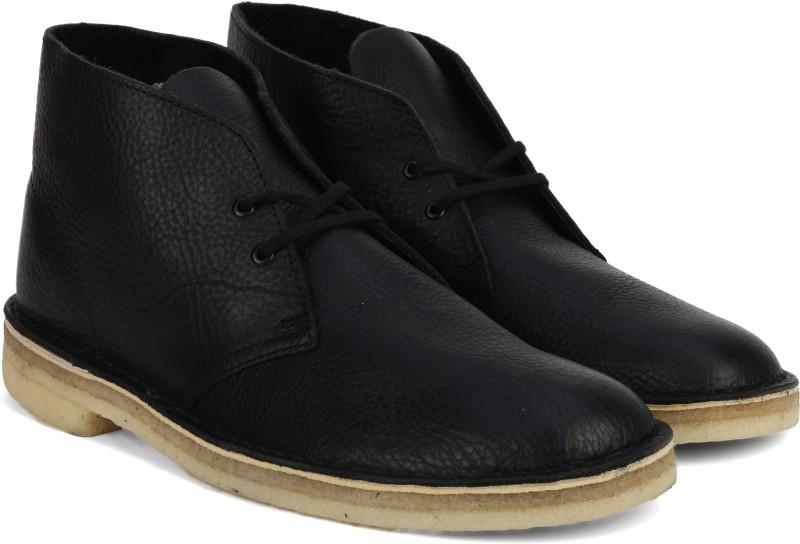Clarks Desert Boot Blk Tumbled Lea Boots For Men(Black)