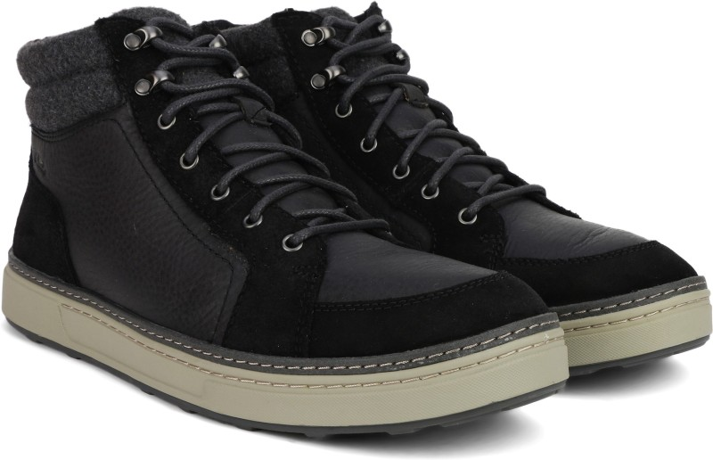 Clarks Lorsen Top Black WLined Lea Boots For Men(Black)