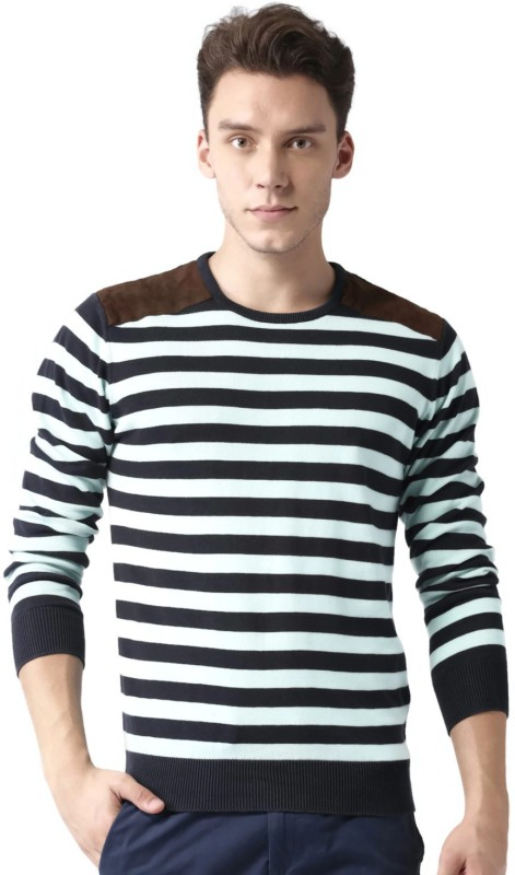 Mast & Harbour Striped Round Neck Casual Men Blue Sweater