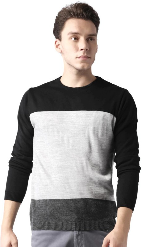 Mast & Harbour Solid Round Neck Casual Men Grey, Black Sweater
