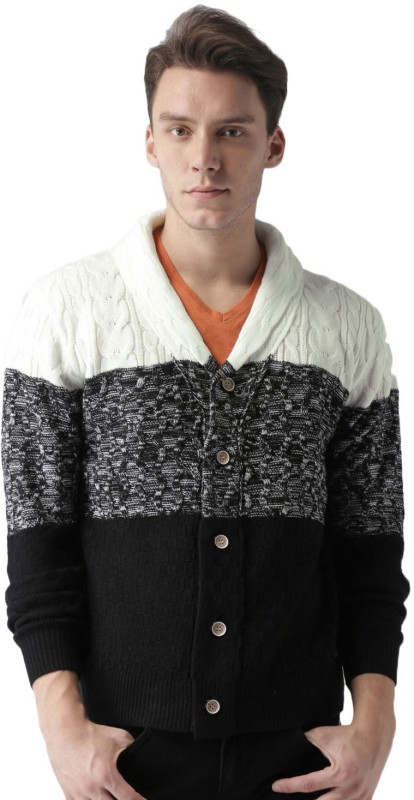 Mast & Harbour Self Design V-neck Casual Men Black, White Sweater