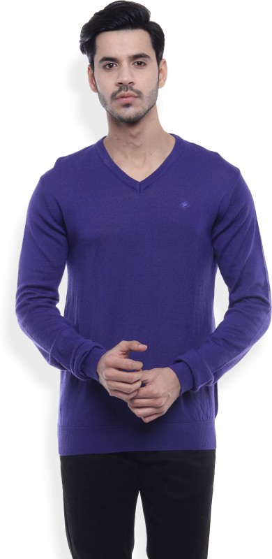 Louis Philippe Solid V-neck Formal Mens Blue Sweater