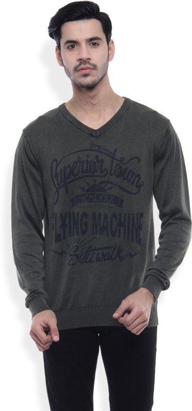 Flying Machine Solid V-neck Casual Men's Dark Green Sweater