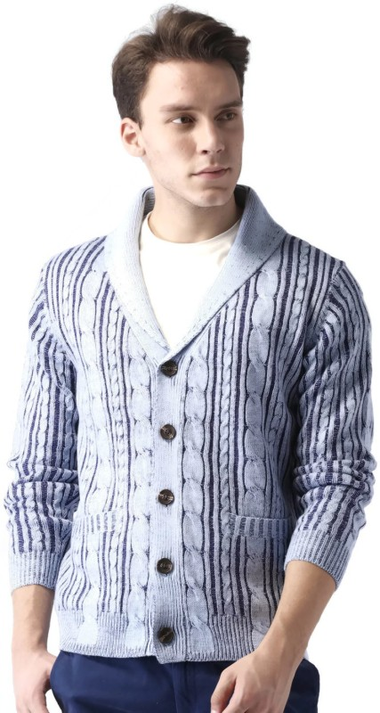 Mast & Harbour Striped V-neck Casual Men Blue Sweater