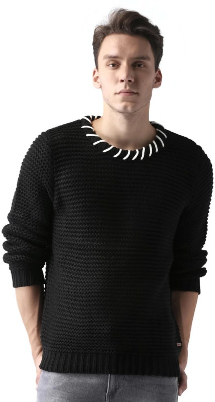 Mast & Harbour Self Design Round Neck Casual Men Black Sweater