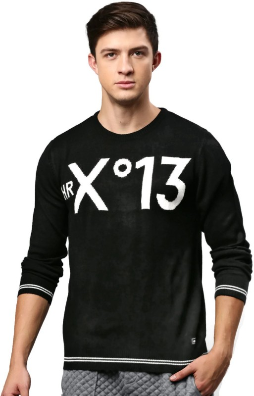 HRX by Hrithik Roshan Self Design Round Neck Casual Men Black Sweater