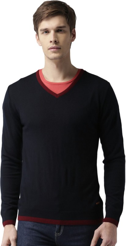 Mast & Harbour Solid V-neck Casual Men Black Sweater