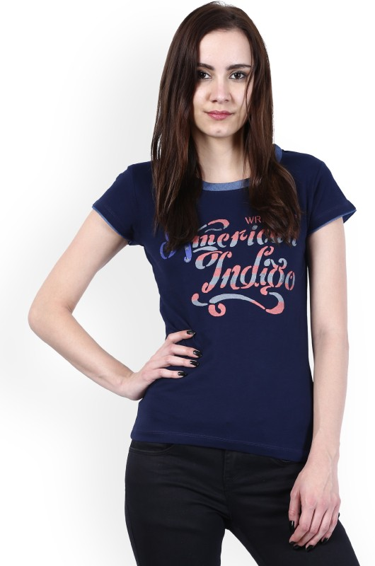 Wrangler Printed Women Round Neck Blue T-Shirt