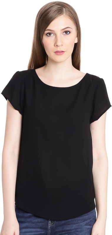 United Colors of Benetton Casual Cap Sleeve Solid Womens Black Top