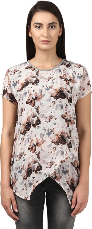 Park Avenue Casual Short Sleeve Printed Women Beige Top