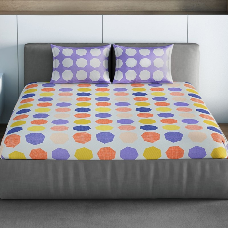 SPACES 144 TC Cotton Double Geometric Bedsheet(1pcs Double Bedsheet with 2pcs Pillow Covers, Purple)