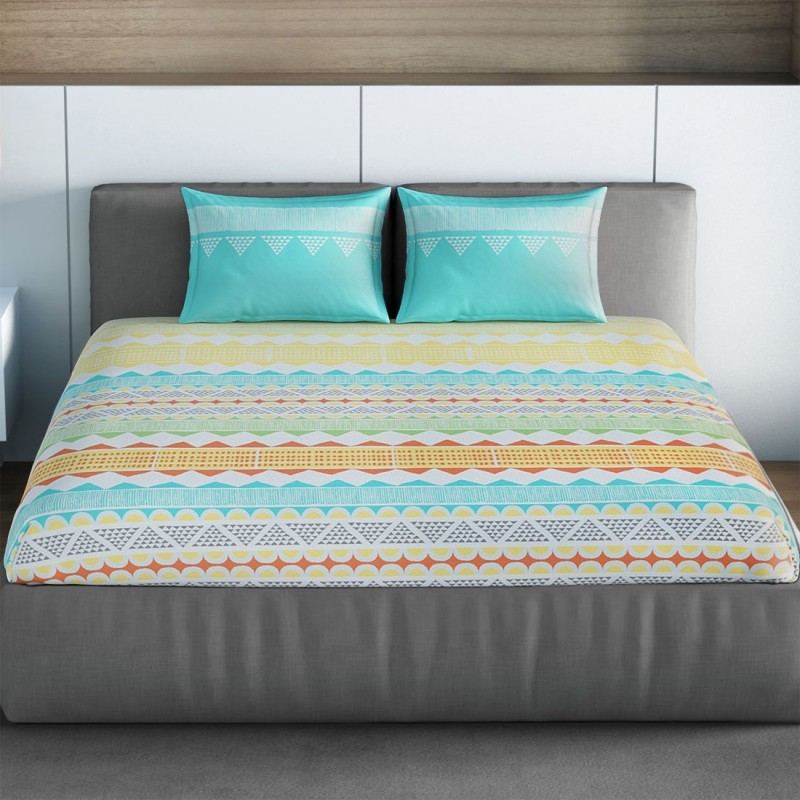 SPACES 144 TC Cotton Double Printed Bedsheet(1pcs Double Bedsheet with 2pcs Pillow Covers, Aqua)