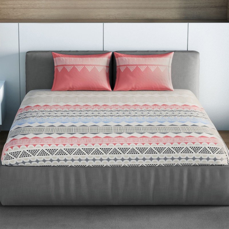 SPACES 144 TC Cotton Double Printed Bedsheet(1pcs Double Bedsheet with 2pcs Pillow Covers, Rust Red)