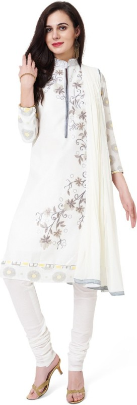 Divastri Cotton Embroidered Semi-stitched Salwar Suit Dupatta Material